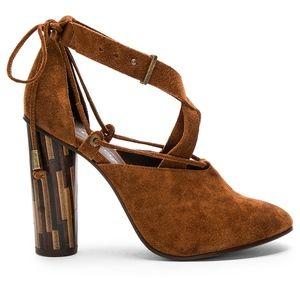 Free People Nouvella Brown Suede Wrap Heels - NEW
